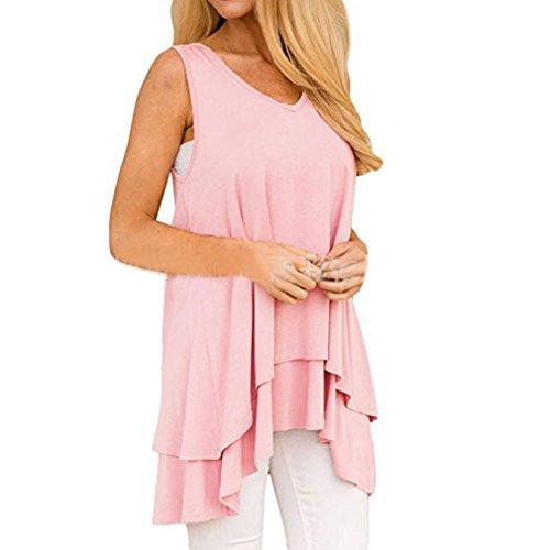 以下所持バウンスHonghu女性プラスサイズノースリーブ夏のトップス非対称ルーズTシャツ ピンク 2XL