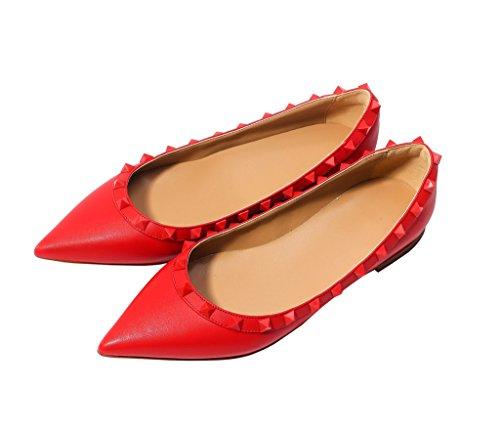 Katypeny Donna Borchia Rivetto Slip On Scarpe A Punta Mocassini Flats Pumps Shoes 05 # Rosso Opaco Pelle Pu