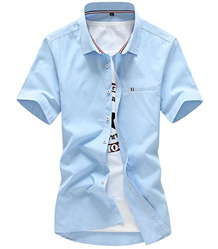 [Sonms NEW Summer Solid Color Short Sleeve Men Dress Shirt Slim Camisa Hawaiian Shirt Sky blue Asia 3XL 185CM] (Morph Suite)