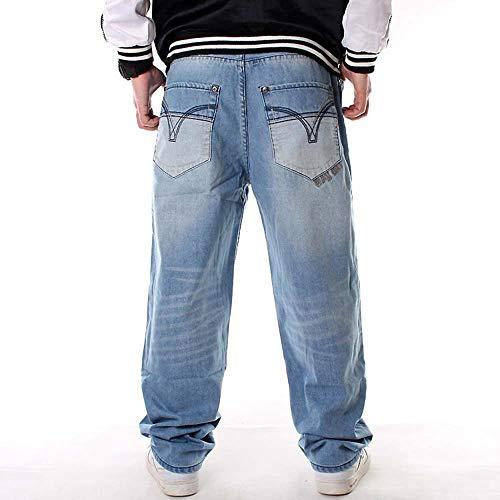 Passeggio Azzurro Hip Larghi Stile Jeans Pantaloni Da Huateng Hop Uomo zZ4nx