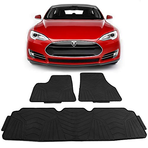 Floor Mats Fits 2012-2019 Tesla Model S   Latex Rubber All Seasons Weather Interior Heavy Duty Carpets Black Full Set Front and Second Row By IKON MOTORSPORTS