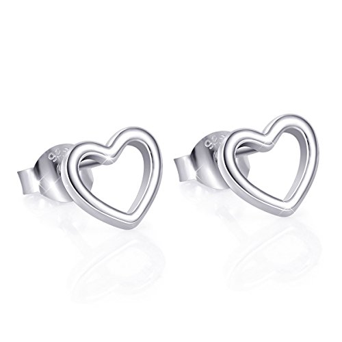 Earrings Heart Sterling - 925 Sterling Silver Heart Stud Earrings for Women (Style 1)
