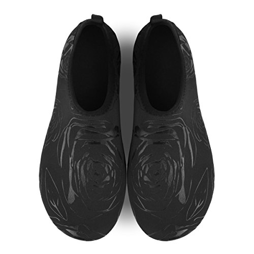 Womens Aqua Flower Black Shoes Socks Yoga for Swim Sport Beach Mens Surf Barerun Water Outdoor gdq1gwF