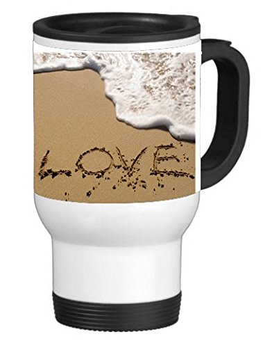 The Word Love in The Sand 14 ounce Stainless Travel Mug Thermos