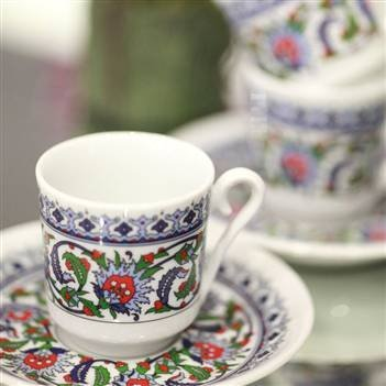 Turkish Coffee or Espresso Cup & Saucer for 6 People (12 Pcs)