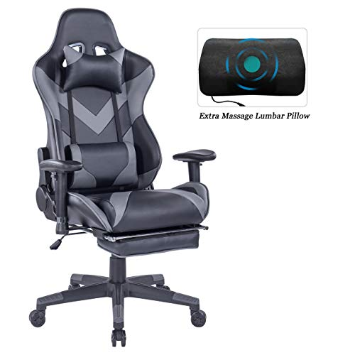 HEALGEN Gaming Chair with Retractable Footrest-Racing Style Gamer Chair-High-Back Ergonomic...