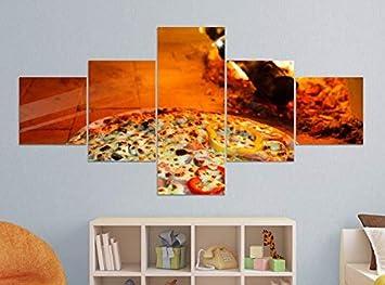 Amazon De Leinwandbild 5 Tlg 200x100cm Pizza Ofen Feuer Steinofen