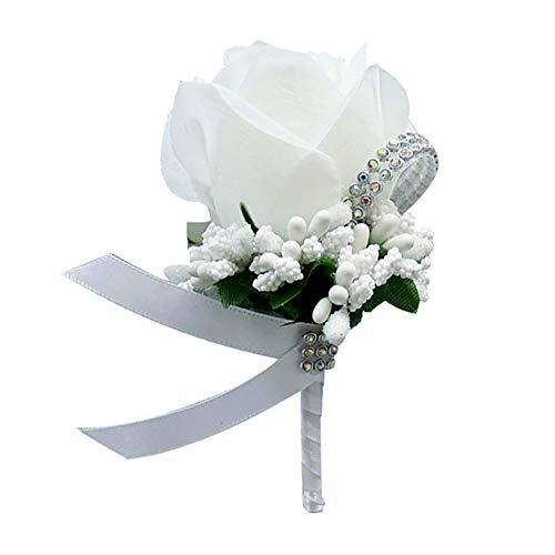 Togethluer Wedding Bridal Groom Bling Rhinestone Corsage,Boutonniere Silk Cloth Rose Flower Corsage White ()