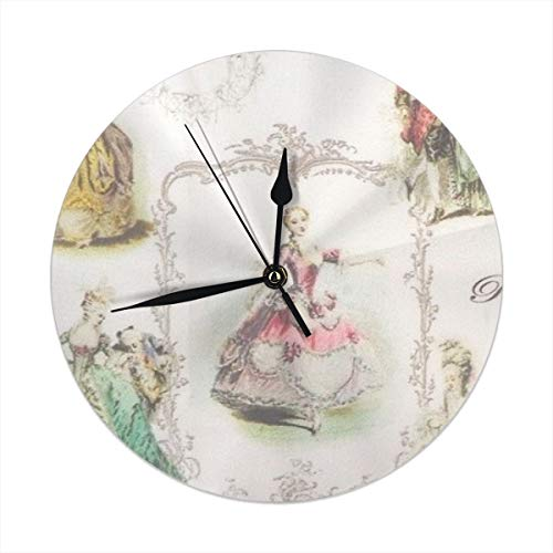 monogram doormat Wall Clock Silent Non Ticking,Marie Antoinette Clock for Home Bedroom Office Diameter 9.84""
