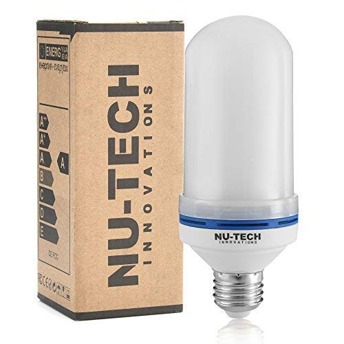Flame Effect Light Bulb LED by Nu-Tech LLC LED 4 Mode Flickering Fire | Simulated Light For A Decorative Vintage In Bar, Festival, Outdoor, Indoor | Save Energy and Impress Friends | E26 Socket]()