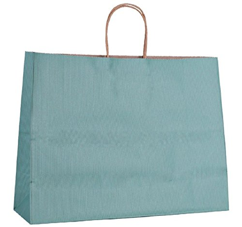Shopping Bags. Pack of 25 Grocery bags 16 x 6 x 12. Kraft paper bag with handles. Teal, mint, green color. Large size. Reusable & Retail & Merchandise & Shop & Carry. Premium Quality. Mfg# 16x6x12 50 by Amiff
