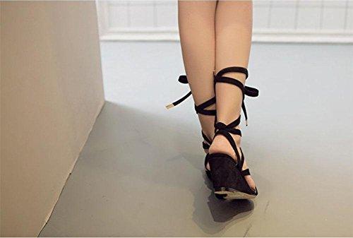 La Sra pendiente sandalias de moda retro Roma con los dedos descubiertos sandalias de cuero mujer Black