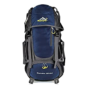 Vbiger Large Capacity 55L Lightweight Travel Water Resistant Backpack / Mountaineering Hiking Daypack (Navy Blue, 55L)