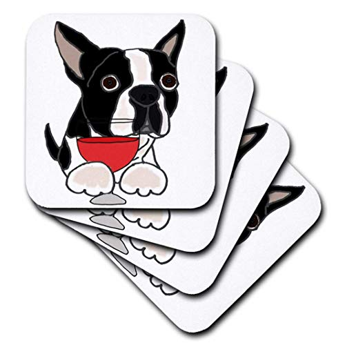 3dRose cst_256408_1 Funny Cute Boston Terrier Dog With Red Wine Soft Coasters