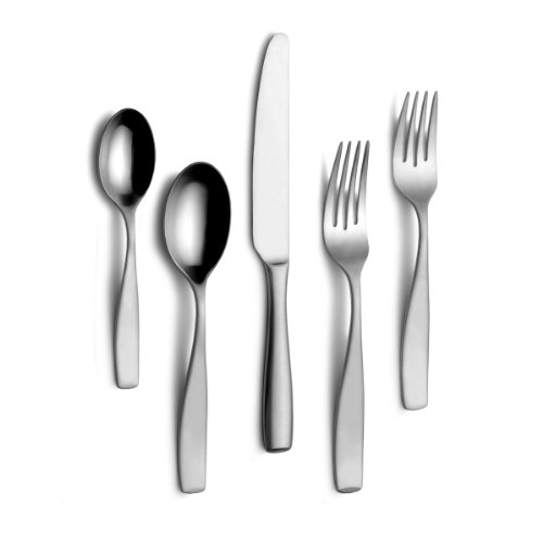 Mikasa 5125924 Satin Loft 75-Piece 18/10 Stainless Steel Flatware Set with Serving Utensil Set,...