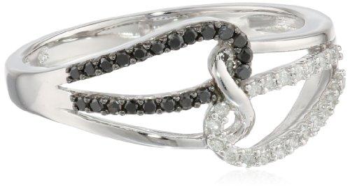 10k Black and White Diamond 0.25cttw Ring, Size 9