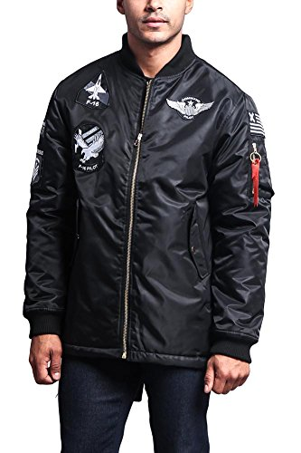 - G-Style USA Men's Patched Long Length MA-1 Bomber Parka Jacket - JK757 - Black - Small - E17C