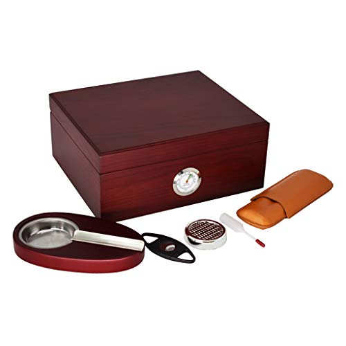 Portable cigar box Cigar Box, with Humidifier and Hygrometer, Cigar Cutter and Ashtray, with Cigar Leather Case, Cigar Cabinet Cigarette Case Set Cedar Wood Lining, Large Capacity For 40 Cigars, Men's by Ac498 (Image #2)