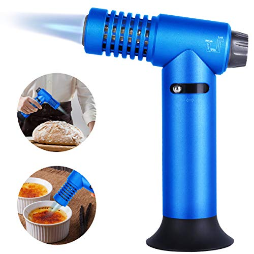 Give Me Kitchen Torch, Blow Torch Lighter, Cooking Butane Torch, Refillable Culinary Torch with Adjustable Flame & Safety Lock for BBQ, Baking, Soldering, Brulee - Blue (Butane Gas Not Included)