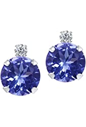 1.87 Ct Round Blue Tanzanite and White Diamond 14K White Gold Earrings