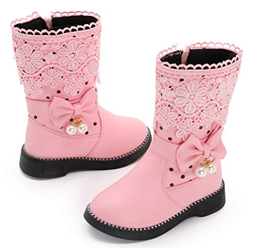 Pictures of DADAWEN Girl's Waterproof Lace Bowknot Side Zipper Fur Winter Boots (Toddler/Little Kid/Big Kid) Pink US Size 10 M Toddler 3