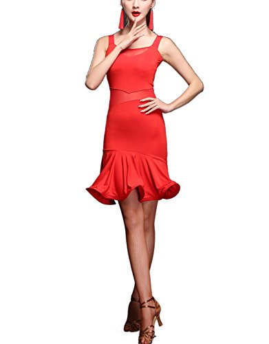 Red Salsa Dress (Women's Wear Ruffle Salsa Dance Photoshoot Excercise Performance Clothes Costume)
