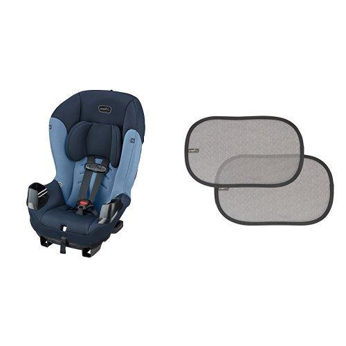 (Evenflo Sonus Convertible Car Seat, Indigo with 2 Piece Car Window Cling Shades, Grey Chevron)