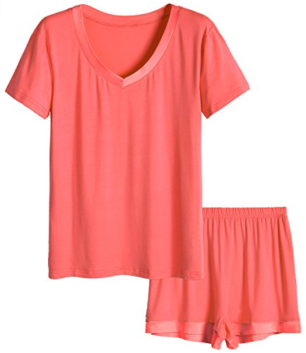 Latuza Women's V-Neck Sleepwear Short Sleeve Pajama Set L Coral (Best Women's Pajama Sets)