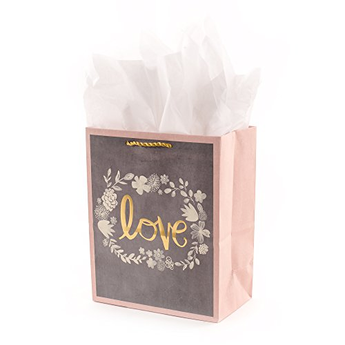 Hallmark Medium Gift Bag with Tissue Paper for Weddings, Bridal Showers, Engagements and More (Gray, Pink, Gold - Ribbon Framed Pink