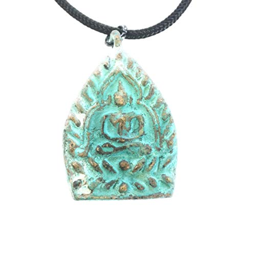 Vintage Circa Sitting Buddha Amulet Necklace - Handcrafted Pendant Jewelry from Thailand - Thai Chakra Dharmachakra Medallion - Good Luck Protection Healing - Zen Boho Bohemian - Jade ()