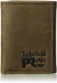 Timberland PRO Carteira masculina de couro RFID com janela para identidade