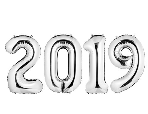 """2019"" Silver Foil Balloon Banner, 40'' Graduation Balloons/New Year Eve Festival Decorations/Anniversary/Party Supplies, Ribbon and Straw Included, Helium Supported by envizins"