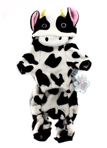 Cow Hoodie Dog Costumes (ARJOSA Dog Pet Halloween Costume Cow Jumpsuit Hoodie Clothes (XS))