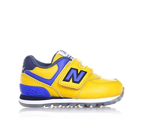 NEW BALANCE - Chaussure de sport jaune et bleue, en cuir et tissu, avec velcro, logo latéral et à l'arrière, coutures visibles et semelle en caoutchouc, garçon, garçons