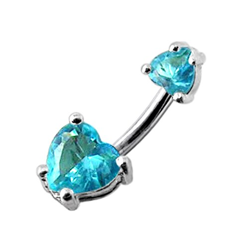Aquamarine Big and Small Heart CZ Stone 925 Sterling Silver Double Side Belly Button Ring Jewelry