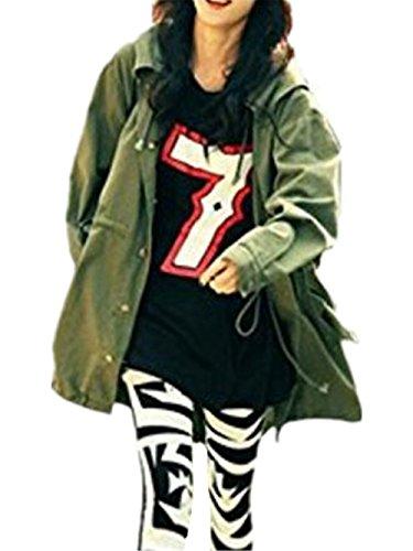Jacket Vintage Manga Hipster Larga Clasicos Outwear Bordada Mujer Sudaderas Elegante Abrigos AILIENT Green Top Coat PHqF00
