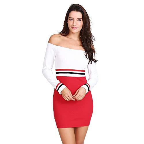 BOLUOYI Women Women BOLUOYI Sexy Off Shoulder Color Block Striped Slim Long Sleeve Mini Dress B07HFBLLYK Shoes 7a5597