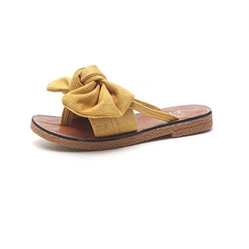 chanclas Ocio Verano Zapatillas para Hembra Seaside Beach Sandalias De Silvestre Estudiante mujer WHLShoes Bowslip Plana y yellow Dulce awxUX