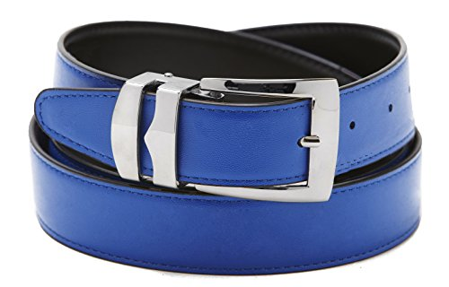 Silver Reversible Belt - Reversible Belt Bonded Leather Removable Silver-Tone Buckle ROYAL BLUE/Black 32