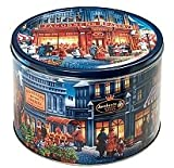 "Imported Danish Butter Cookies in Large Reusable Tin with Paintings ""The Market Place"" NET WT 3.3 lbs (1.5 Kg)"