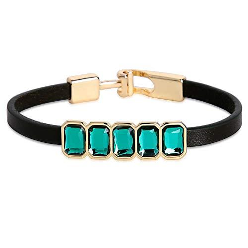 Baguette Bracelet Steel Stainless - Daesar Leather Bracelet for Women Stainless Steel Bracelet Five Baguette Cubic Zirconia Bracelet Small Dark Green