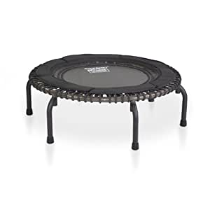 JumpSport Fitness Trampoline Model 370 PRO — Top Rated for Quality and Durability — Long Lasting Premium Bungees — Quietest, Best Bounce — No-Tip Arched Legs — 4 Music Workout Videos Included
