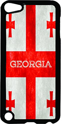 Georgian Grunge Flag-TM Apple iPod 5 Black Plastic Case Made in the USA