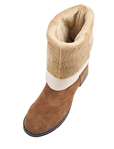 Youlee Damen Winter Warm Hohe Stiefel Blockabsatz Stiefel Martin Stiefel Kamel