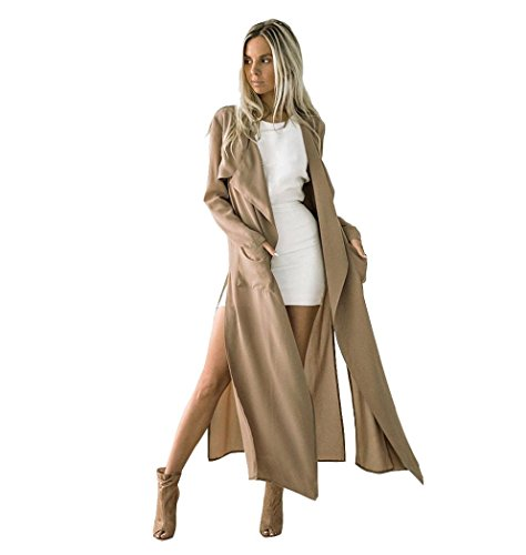 Minisoya Fashion Women's Side Slit Long Jacket Trench Coat Windbreaker Parka Outwear Casual Open Front Maxi Cardigan (Khaki, S) (Wool Coat Side Slit)
