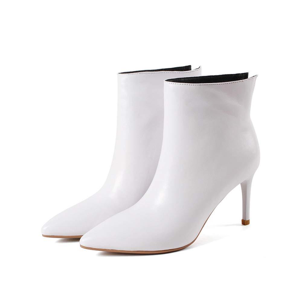 QINGMM QINGMM QINGMM Frauen Spitz Zehen Stiefel 2018 Herbst Glamouröse High Heel Stiefeletten Weiß 37 EU cbbf88