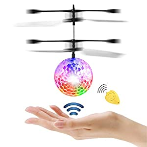 JAMSWALL RC Flying Ball, RC Toy with Remote Control Crystal ball Teenagers Toys Mini drone Toy with colorful LED…