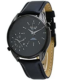 Omax #S002M22K Men's Black Ion Plated Black Dial Leather Band Dual Time Zone Watch