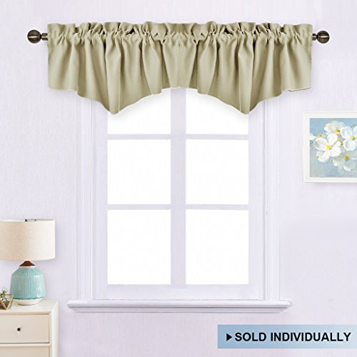 Room Darkening Valance for Bedroom Valance - 52-inch by 18-inch Ascot Rod Pocket Valance Window Dressing by NICETOWN (Beige, Single Piece) (Bedroom Window Valances)