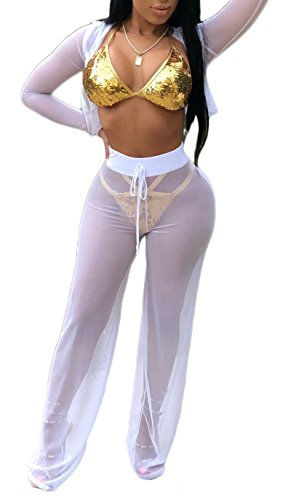 Womens Sexy Mesh See Though 2 Piece Outfits Beach Bikini Swimsuit Cover up Hoodies Crop Top Pant Set (Small, White)